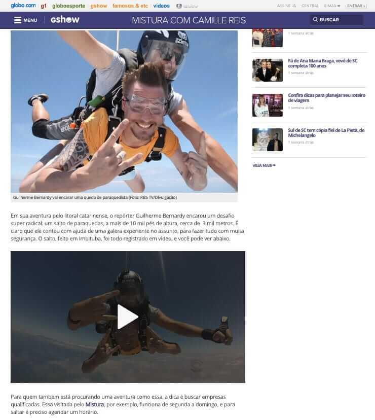'Mistura' encara salto a mais de 10 mil pés de altura